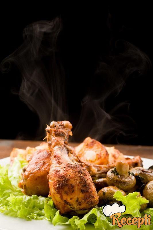 Piletina u vinu sa pečurkama