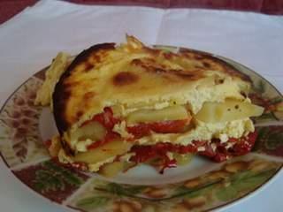 Krompir sa sirom i pečenim paprikama