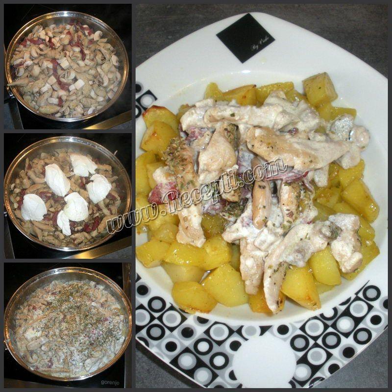 Piletina sa pršutom i pečurkama