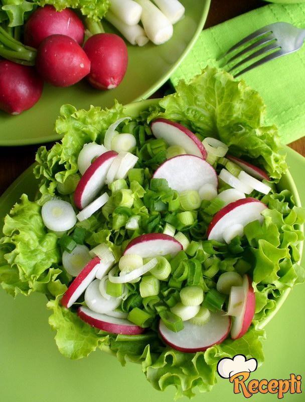Zelena salata sa lukom i rotkvicama