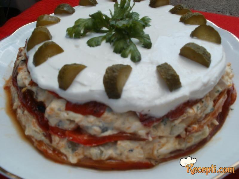 Torta sa pečenim paprikama