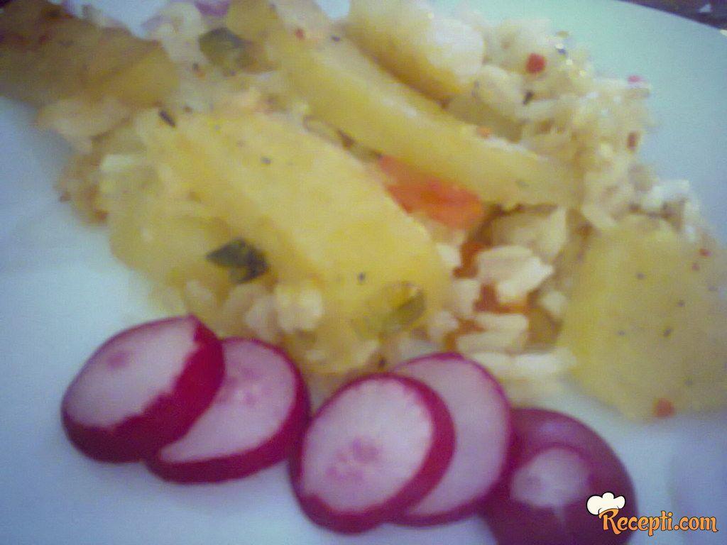 Zapečeni krompir sa rižom
