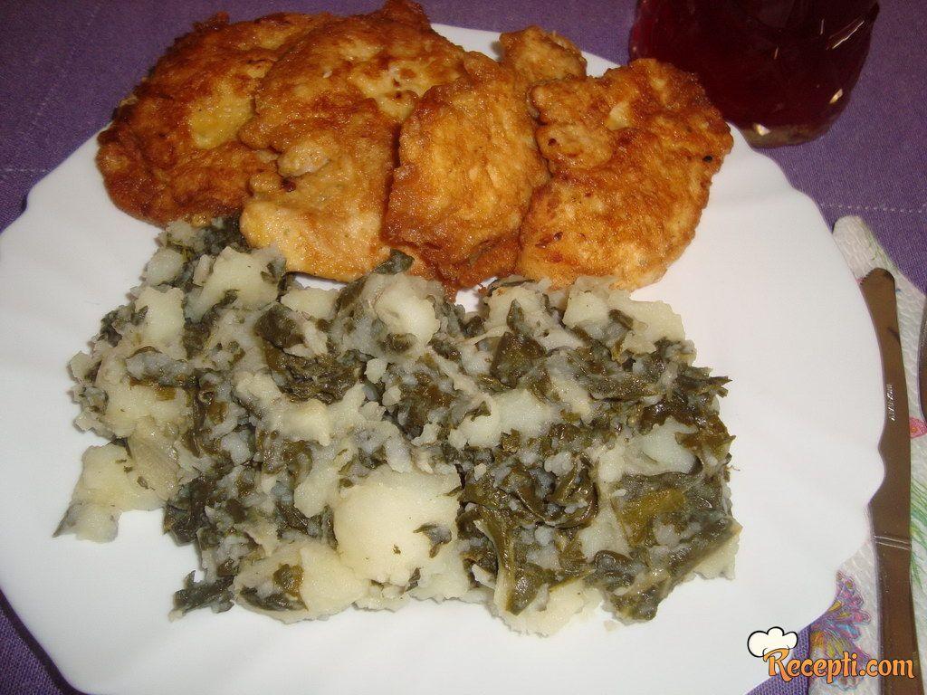 Pohovana piletina sa krompirom i blitvom