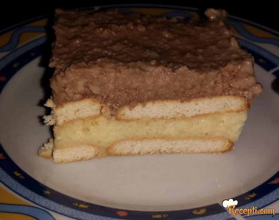 Brzi puding kolač sa keksom i bananama