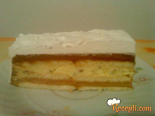 Keks torta sa euro-kremom, krem bananama i čokoladom