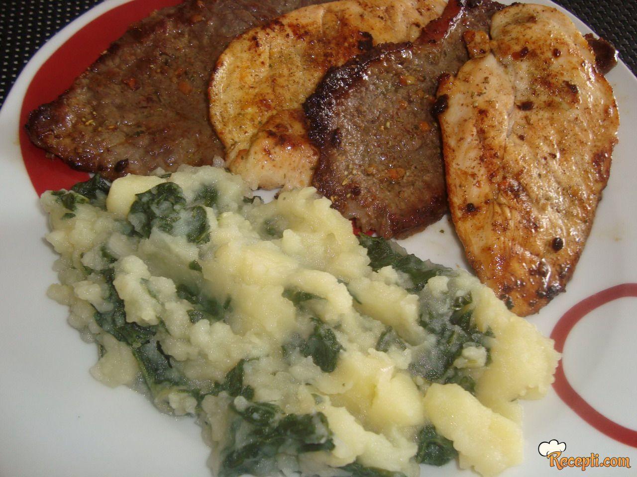 Miješano meso sa prilogom od blitve i krompira