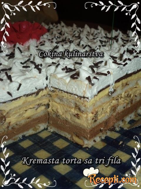 Kremasta torta sa tri fila