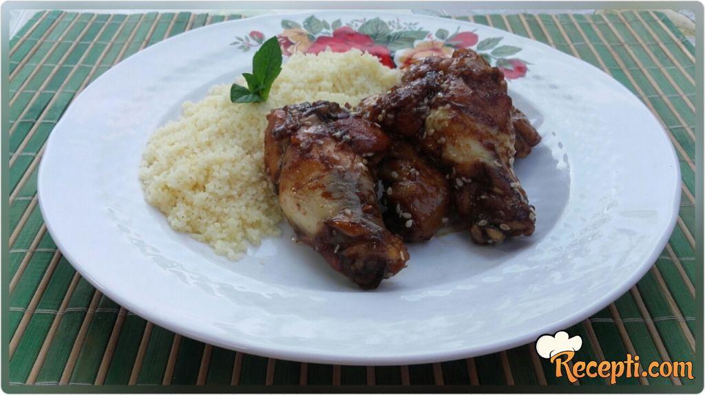 Teriyaki chicken wings & couscous
