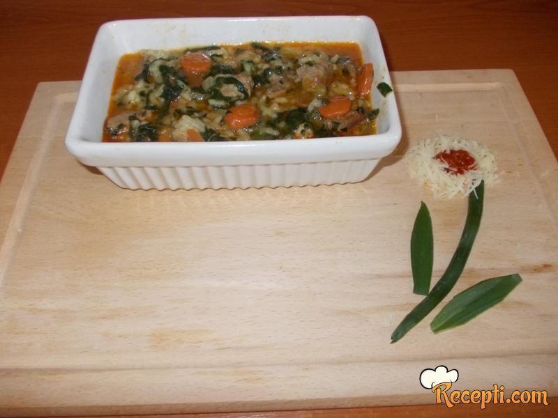 Čorba od zelja sa pirinčem