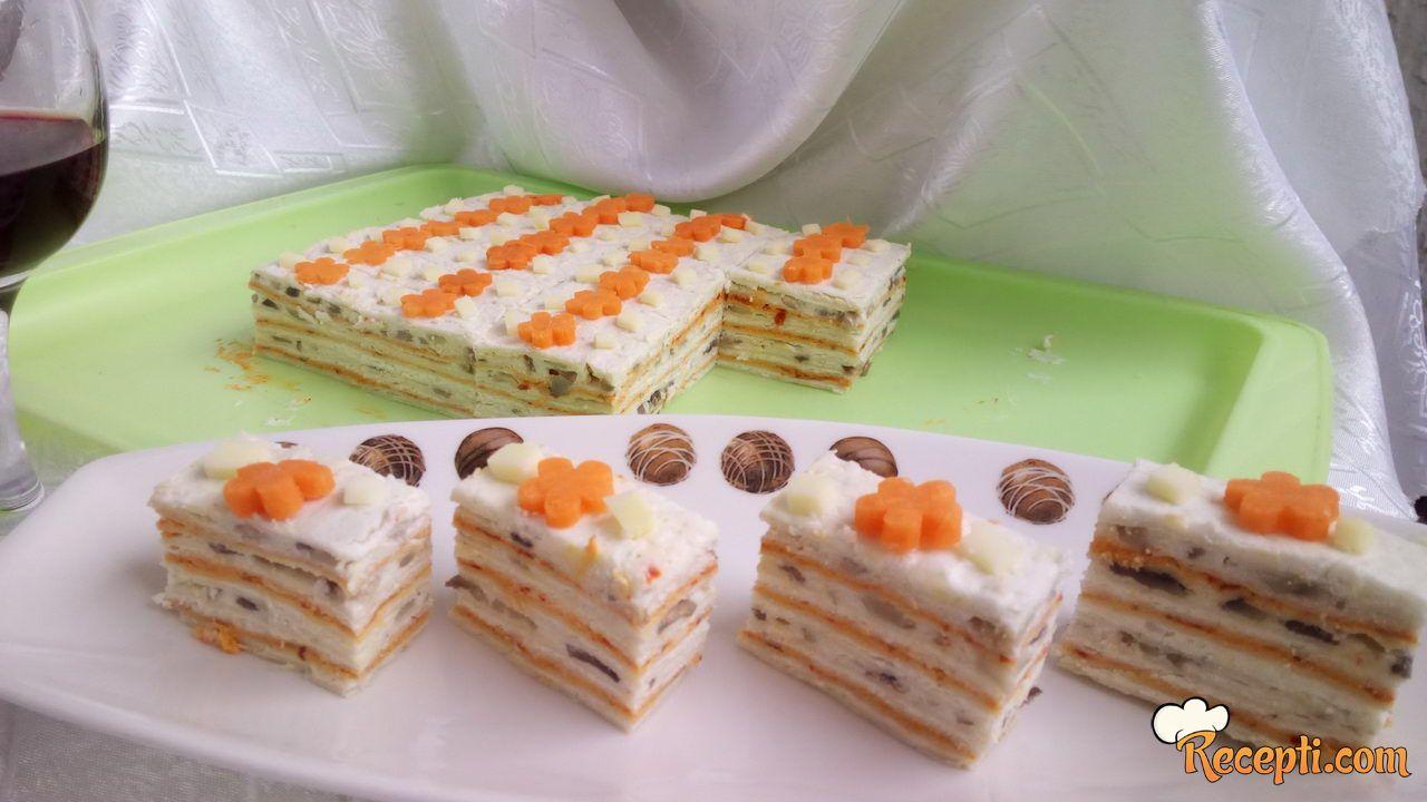 Posna tortica sa šampinjonima
