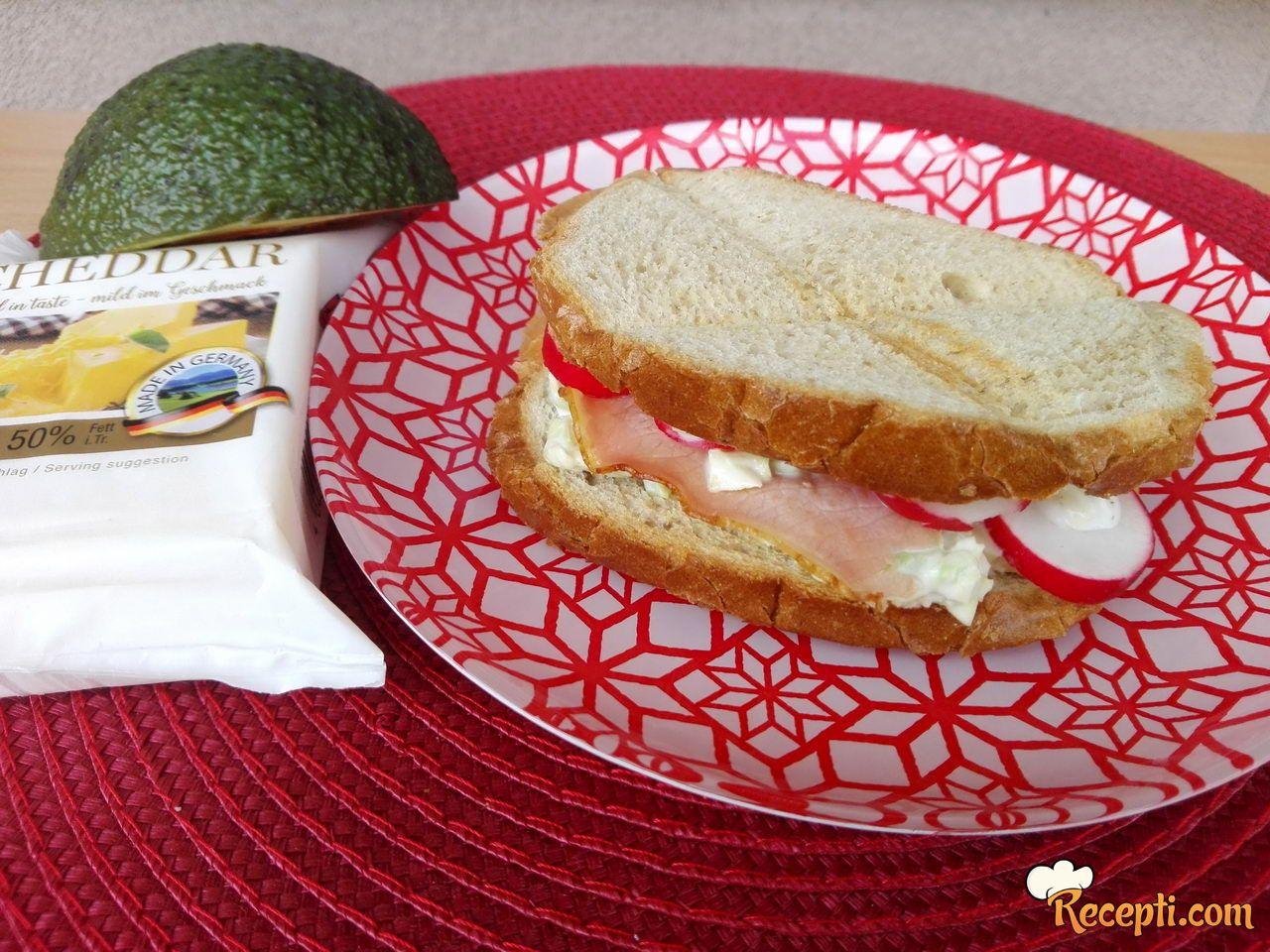 Sendviči sa avokadom, pršutom i cheddar sirom