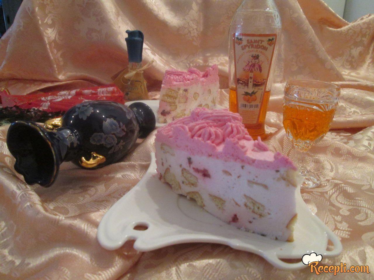 Krem torta sa malinama i keksom