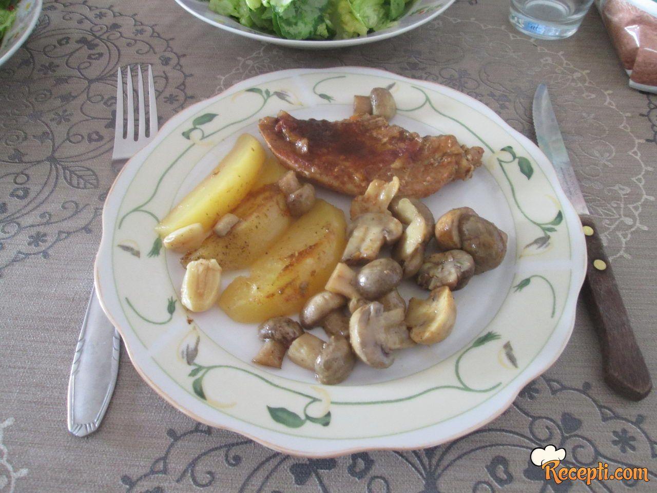 Svinjsko meso, krompir, šampinjoni - iz rerne