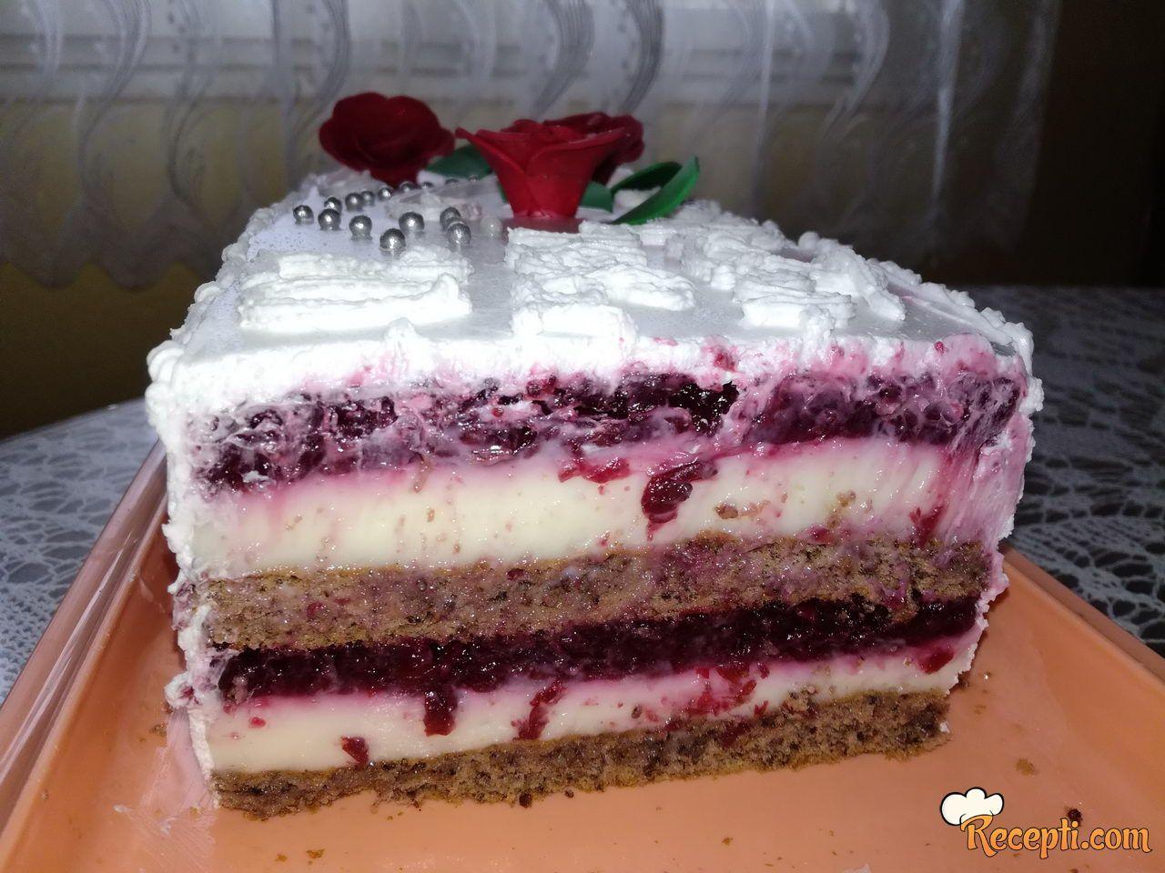 Novogodišnja torta sa višnjama i pavlakom