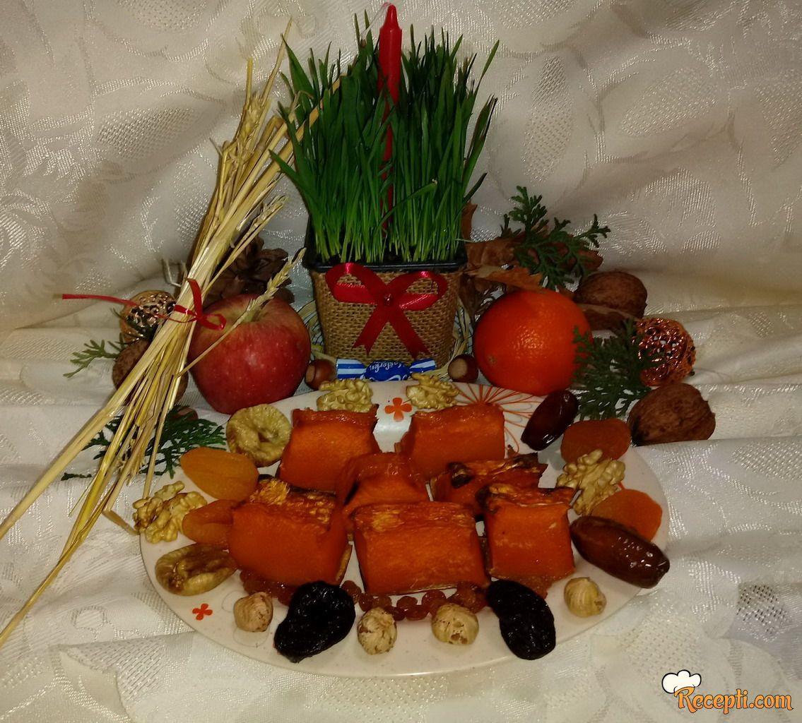 Pečena bela tikva i suvo voće za Badnje Veče