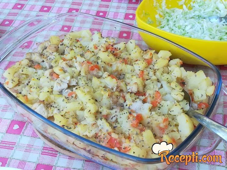 Krompir, šargarepa, tikvica i belo meso