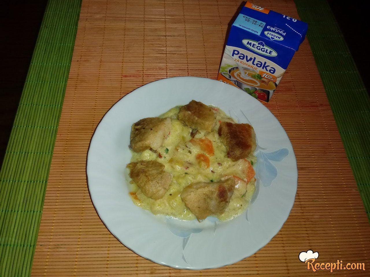 Teletina u sosu od povrća i Meggle pavlake