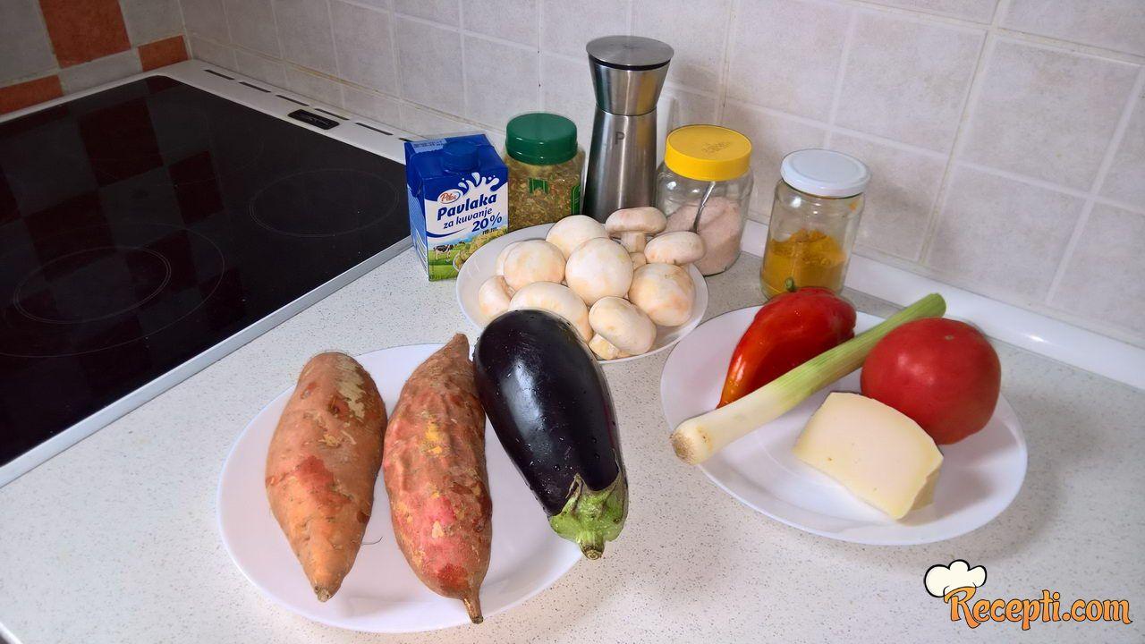 Musaka sa batat krompirom i šampinjonima