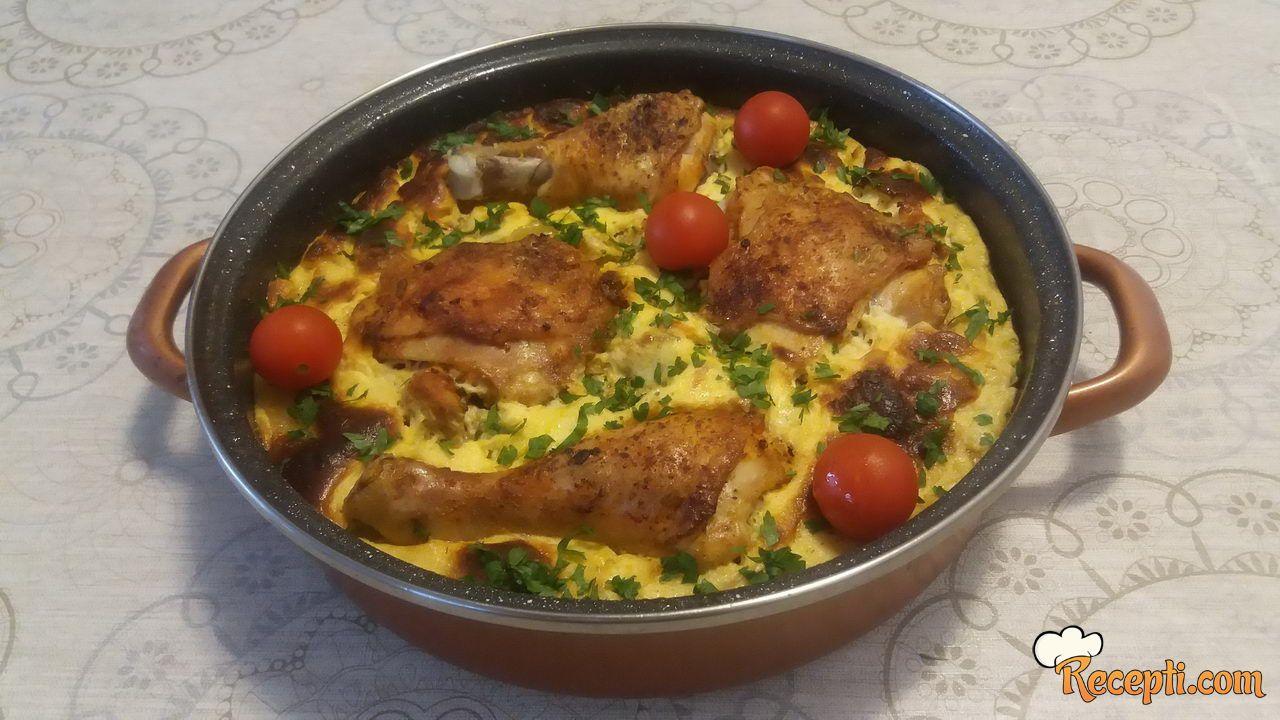 Piletina sa puno povrća