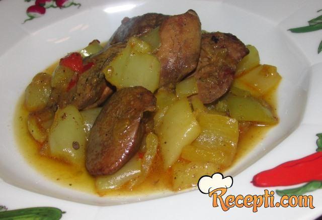 Pileća jetrica sa paprikama