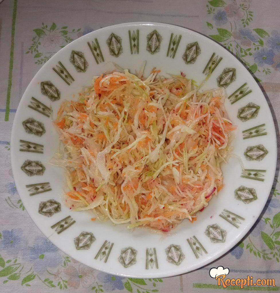 Salata sa rotkvicama, šargarepom i kupusom