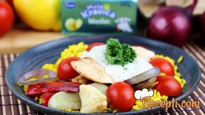 Pileće belo meso sa grilovanim povrćem