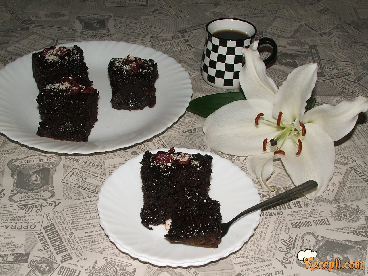 Sočne čokoladne kocke sa brusnicama