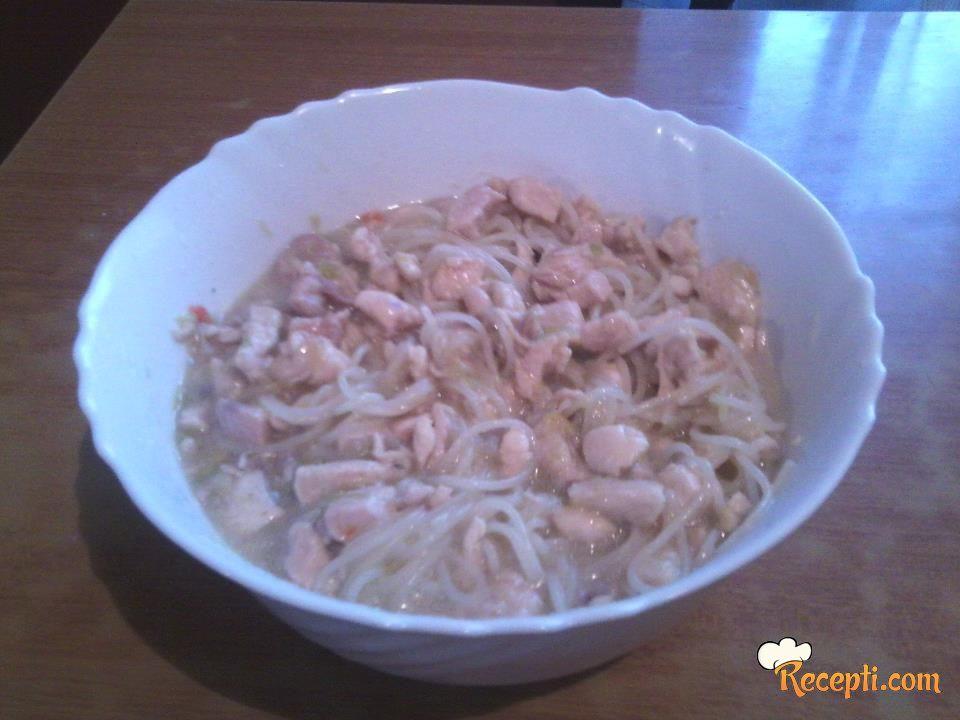 Špagete sa belim mesom i prazilukom