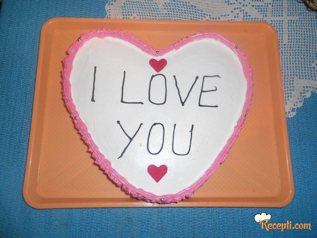 Brza torta sa malinama (I love you)